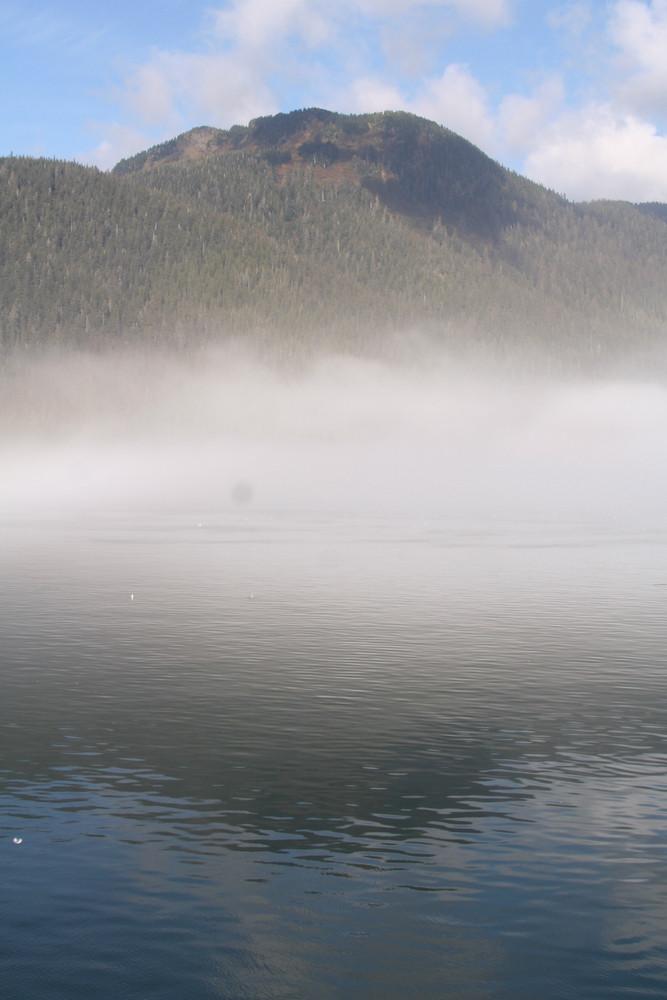 Ocean Mounatin And Fog