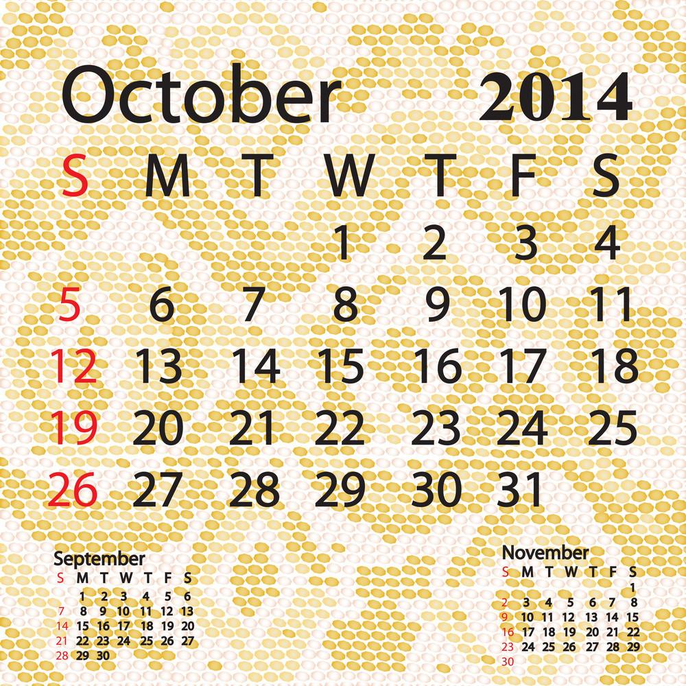 October 2014 Calendar Albino Snake Skin