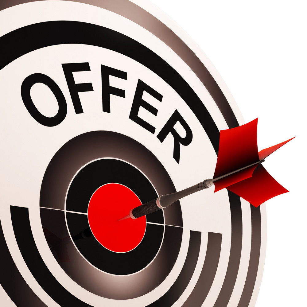 offer target shows discounts reductions or sales royalty free stock