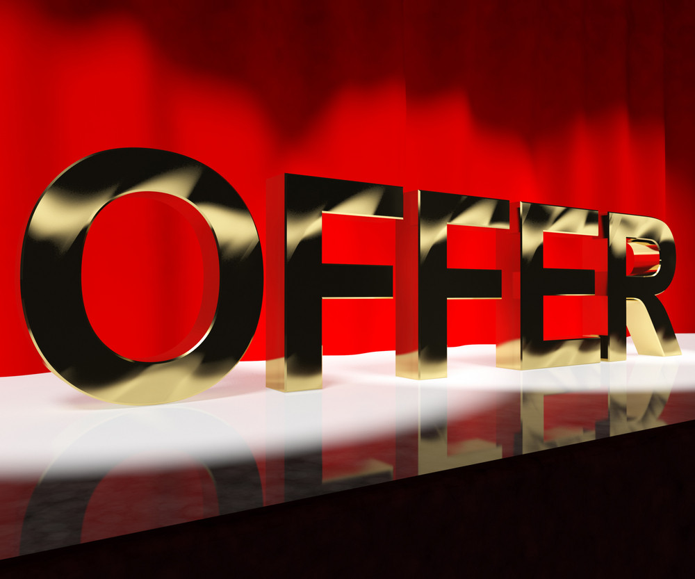 Offer Word On Stage Meaning Discount Show Or Shows
