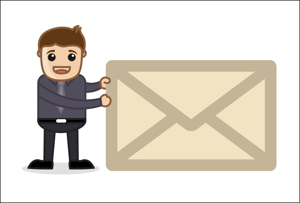 Office And Business Cartoon Character Vector  Illustration - E-mail