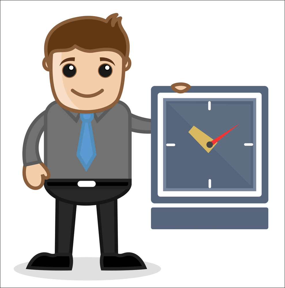 Office And Business Cartoon Character Vector  Illustration - Time Concept
