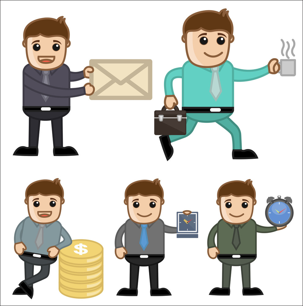 Office And Business Cartoon Character Vector  Illustration - Various Poses And Concepts
