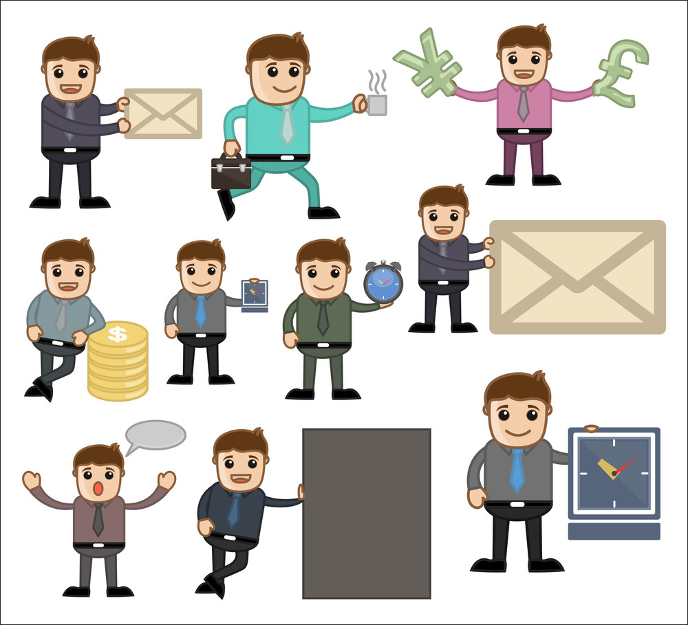 Office And Business Vector Cartoon Character Illustration - Various Poses