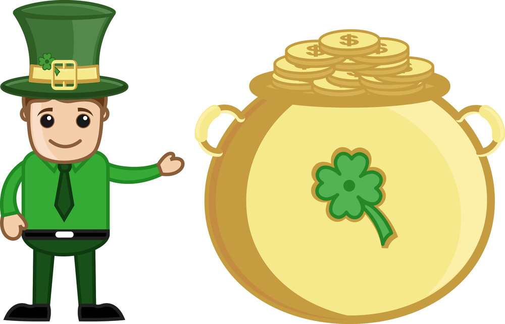 Office Man With Cauldron Of Gold Coins - Cartoon Business Characters