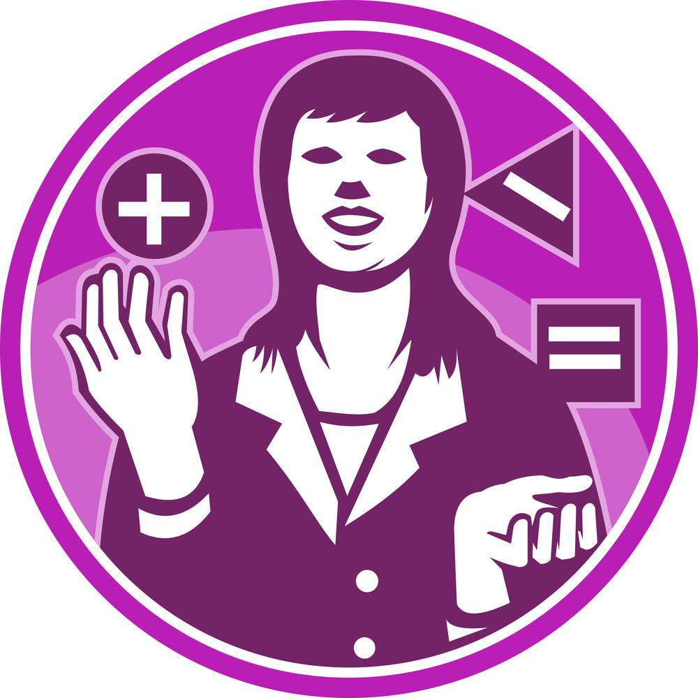 Office Worker Businesswoman Juggling Woodcut