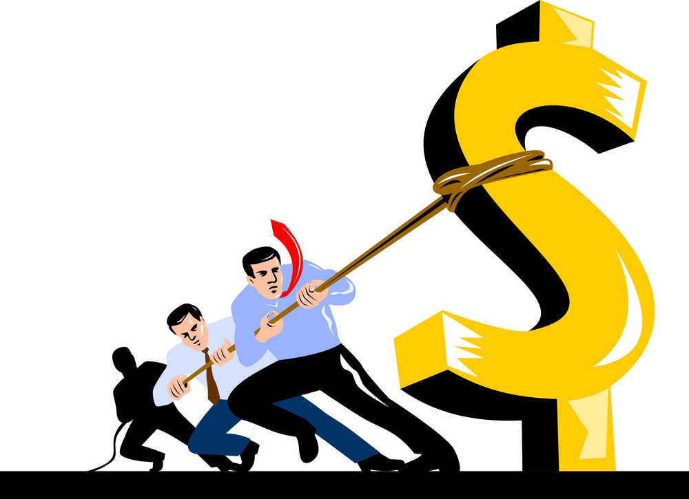 Office Workers Pulling Down Dollar