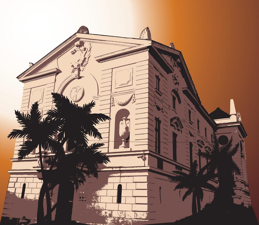Old Building Vector Illustration