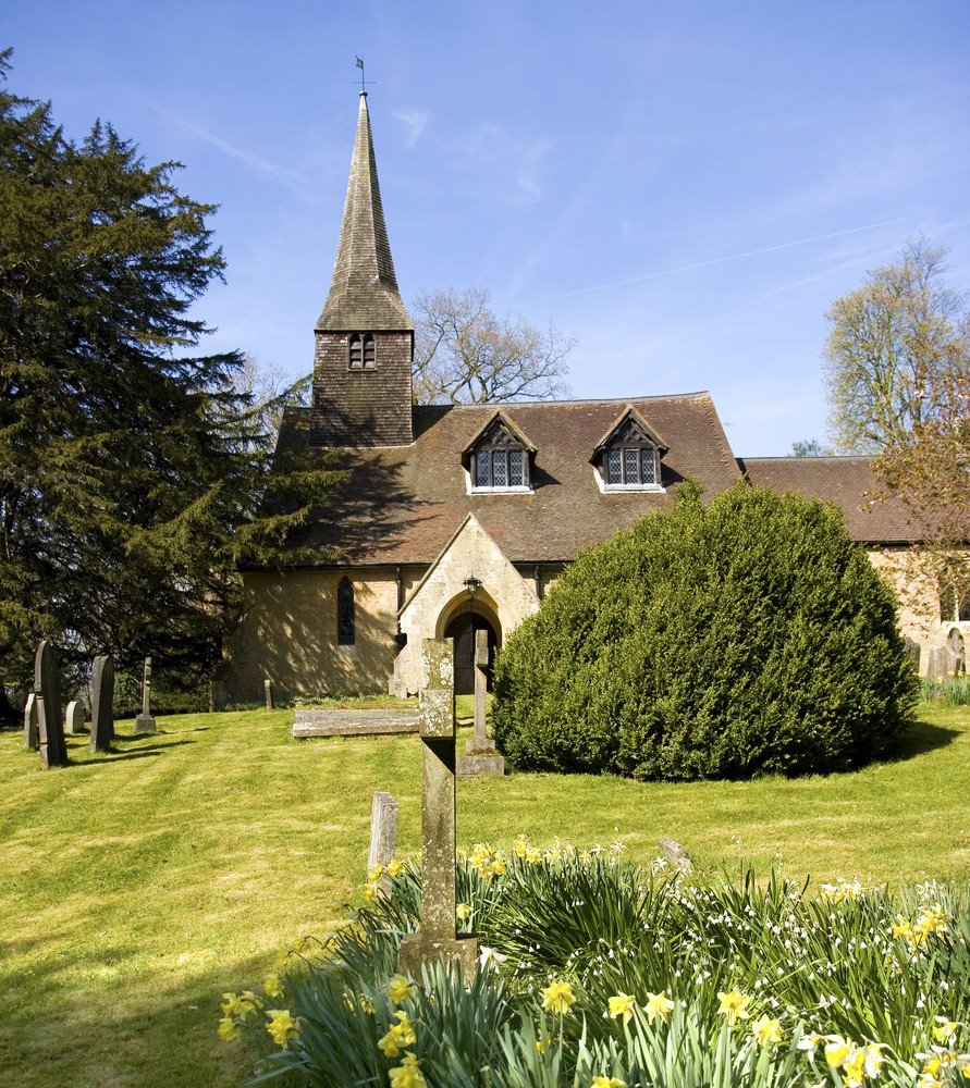 Old English Church On A Sunny Day