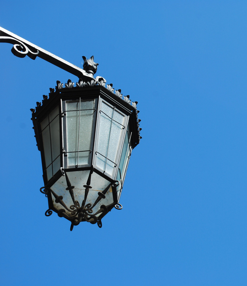 Old Lantern With Sky Background