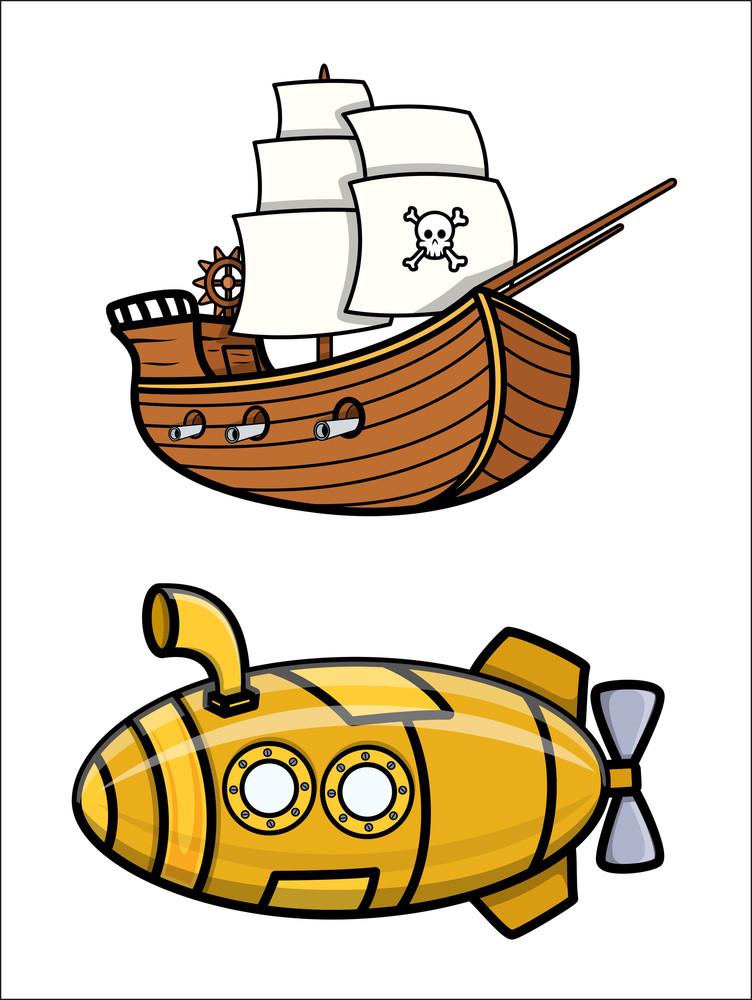 Old Pirate Ship And Submarine - Cartoon Vector Illustration