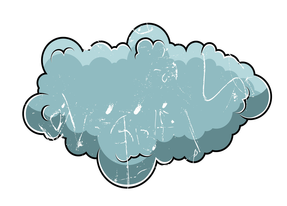 Old Retro Grung Comic Cloud Vector