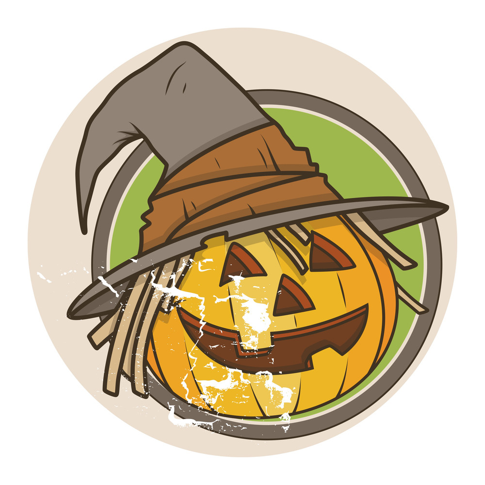 Old Retro Jack O' Lantern - Halloween Vector Illustration