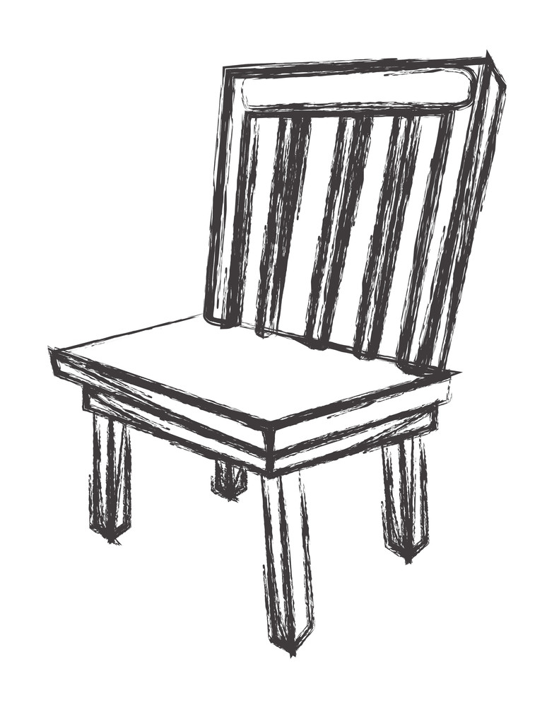Old Retro Wooden Chair Sketching