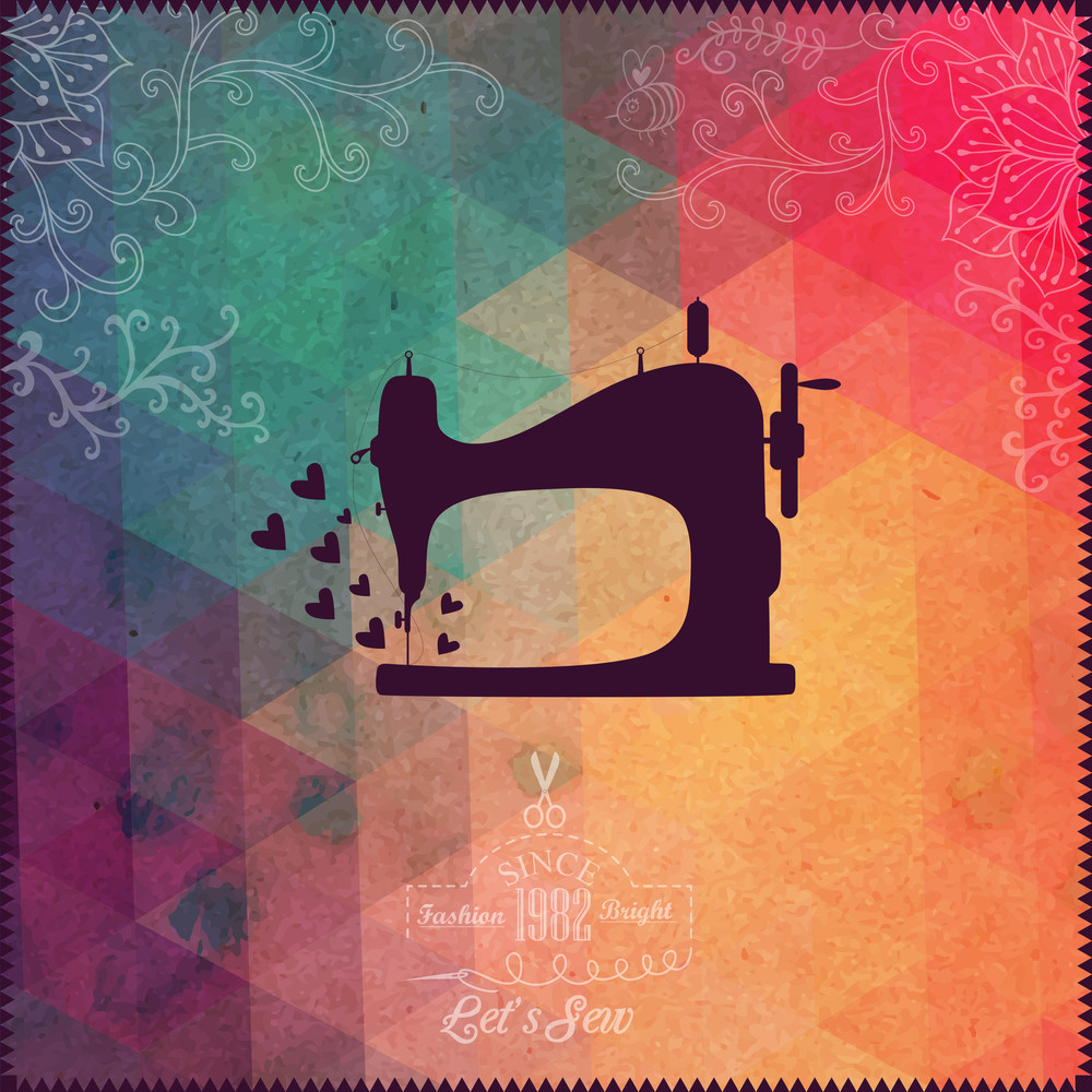 Old Sewing Machine On Hipster Background Made Of Triangles With Grunge Paper. Retro Background With Floral Ornament And Geometric Shapes.retro Label Design. Color Flow Effect. Hipster Theme Label.
