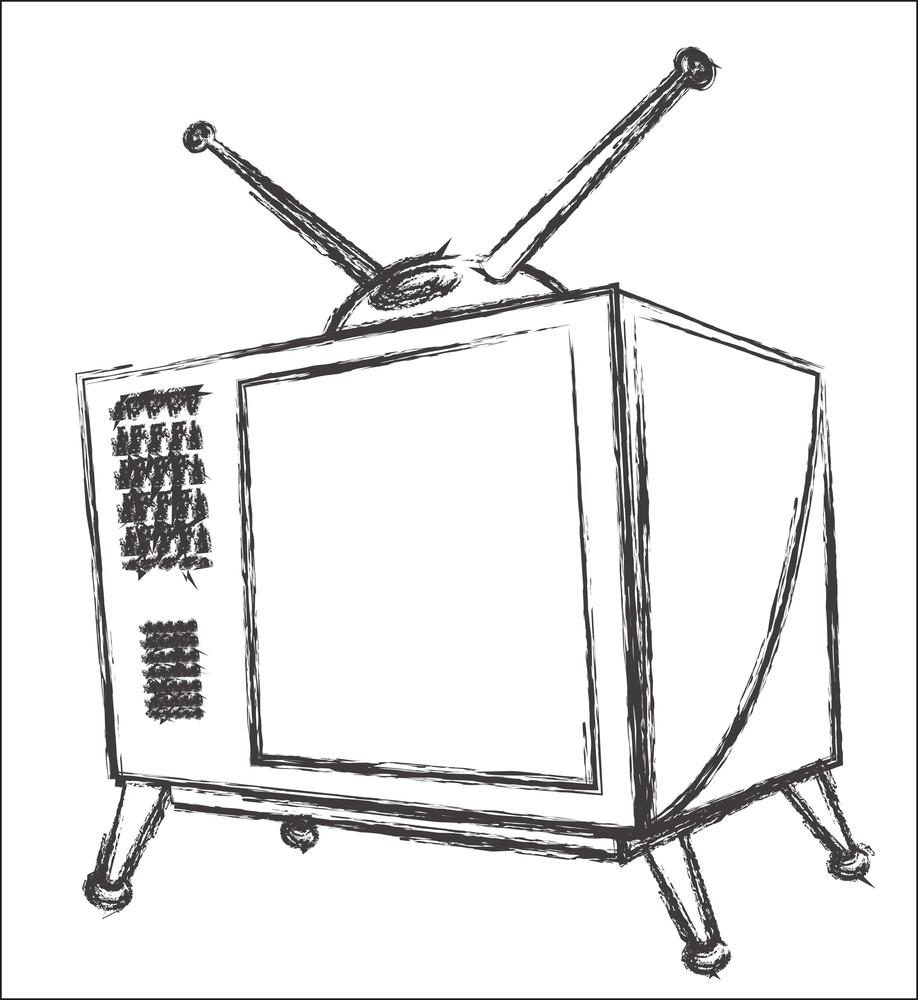 Old Style Retro Tv Sketching
