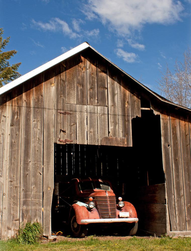 Old Truck In Barn