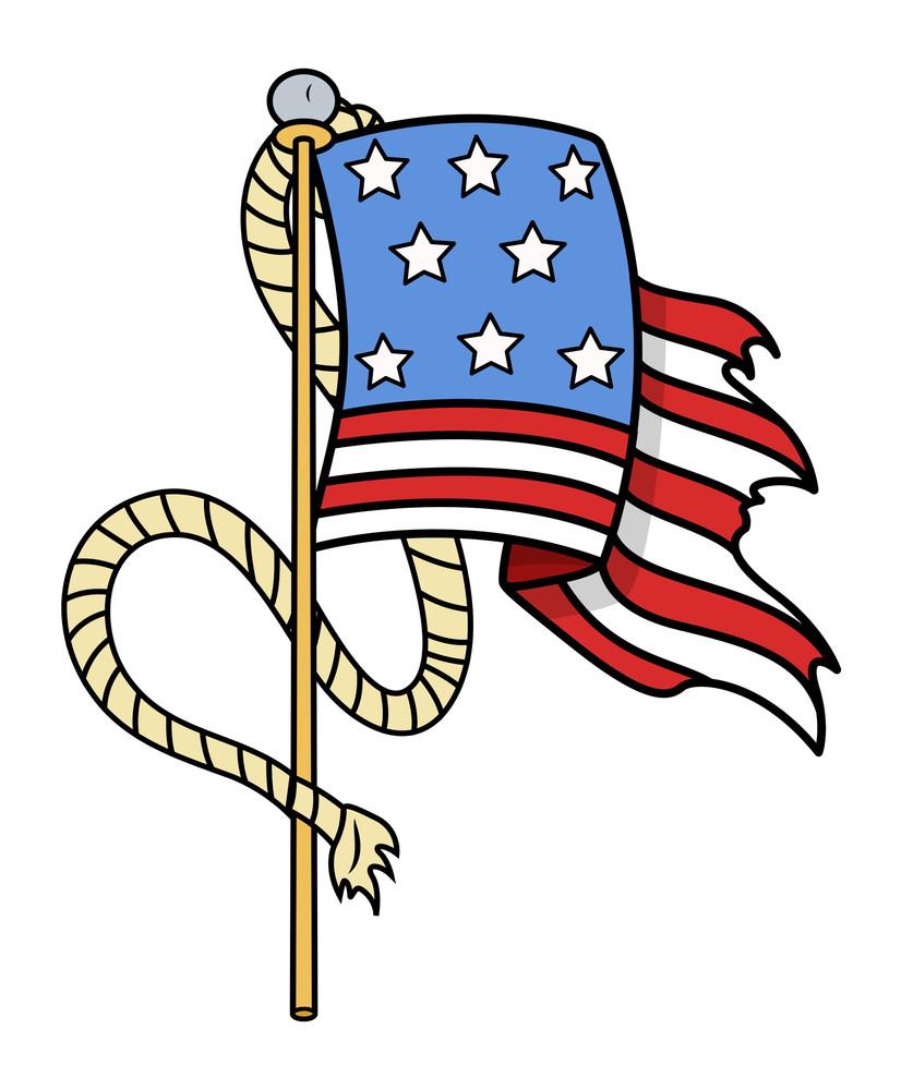 Old Us Flag Cartoon Tattoo Vector Illustration