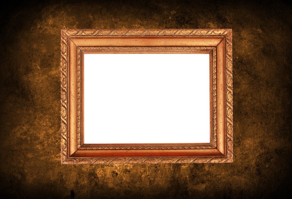 Old Wall With Empty Picture Frame
