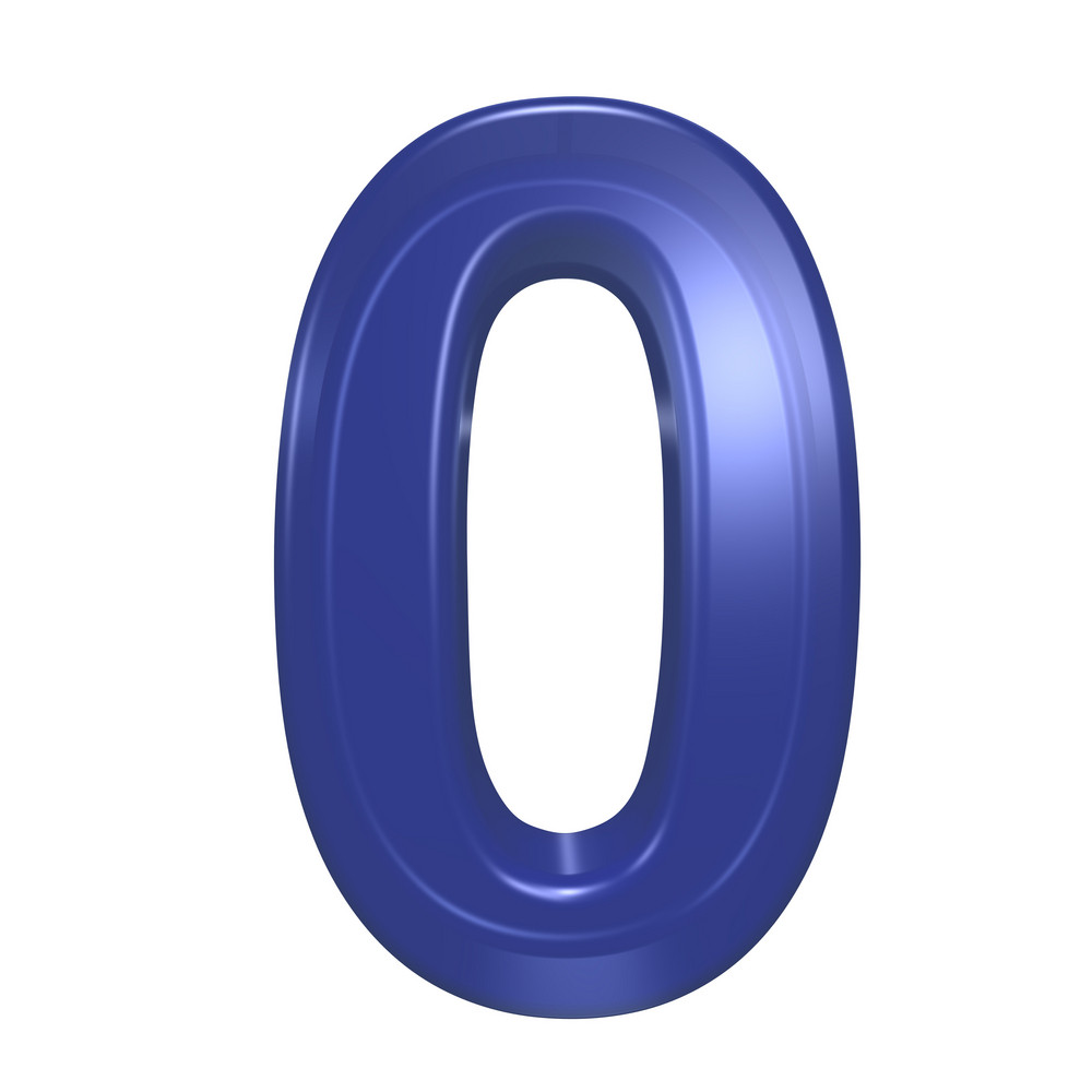 One Digit From Blue Glass Alphabet Set