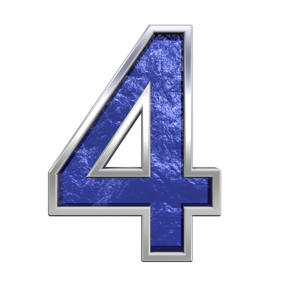 One Digit From Blue Glass Cast Alphabet Set