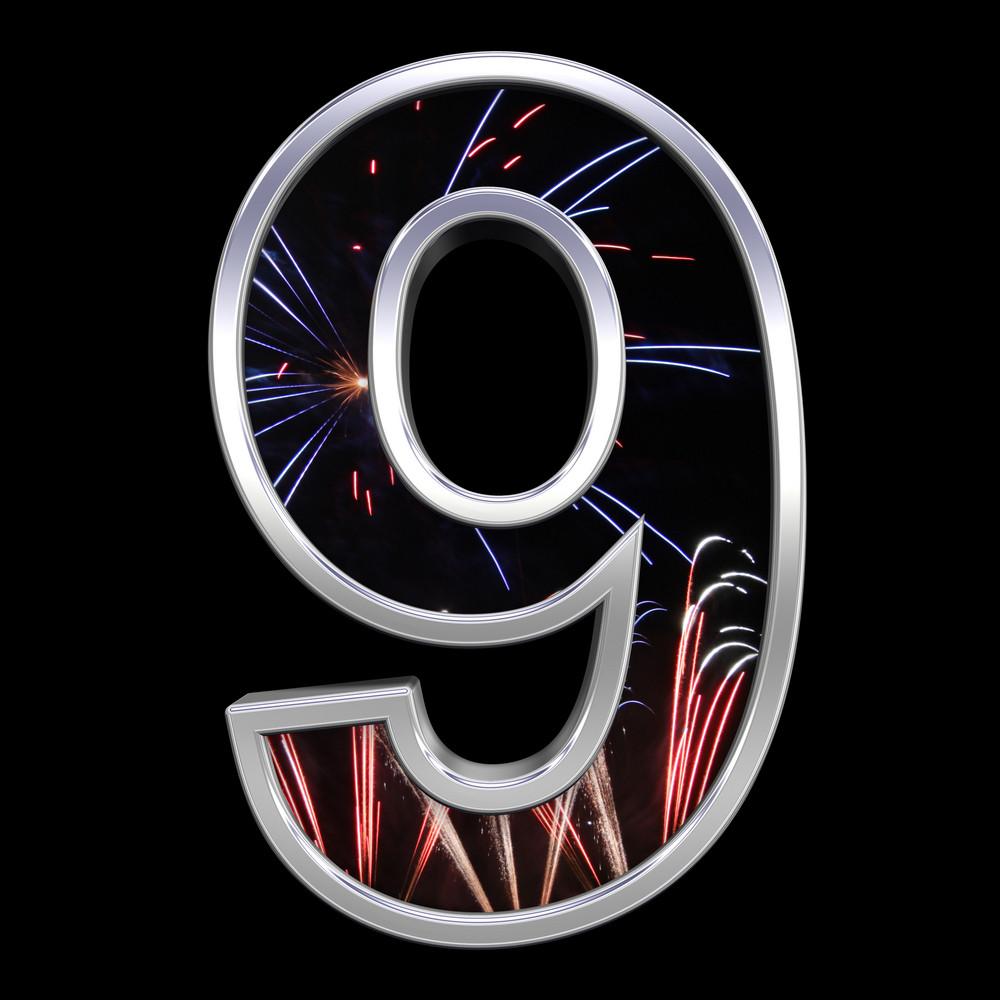 One Digit From Firework With Chrome Frame Alphabet Set