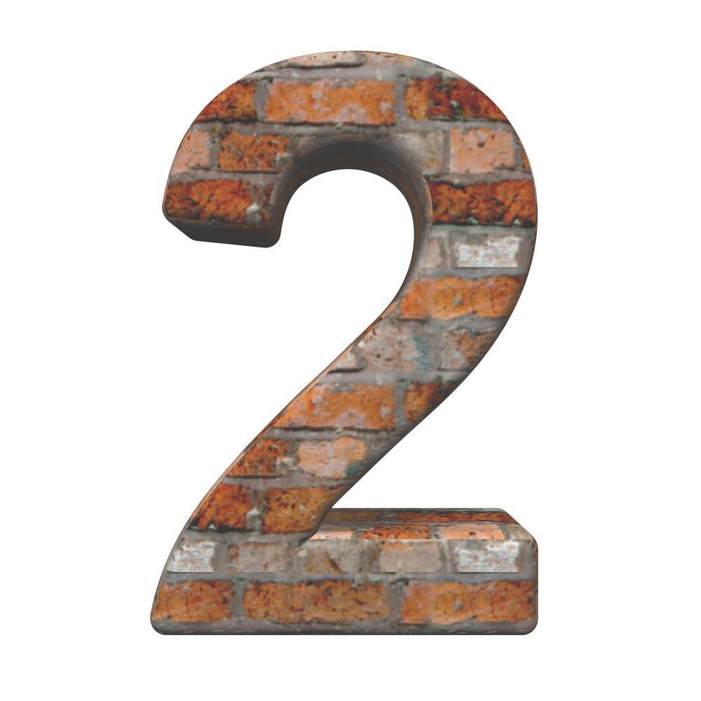 One Digit From Old Brick Alphabet Set