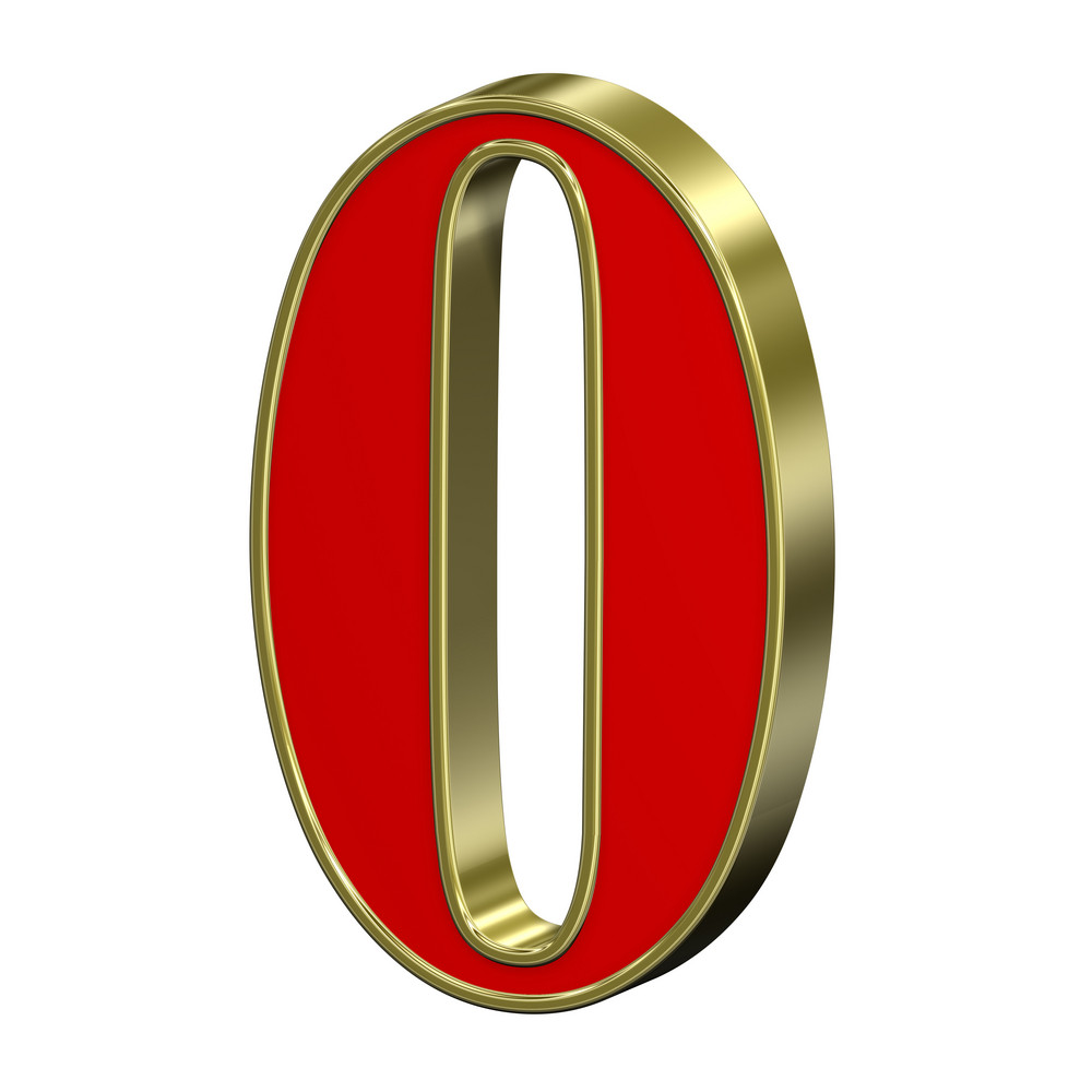 One Digit From Red With Gold Frame Roman Alphabet Set, Isolated