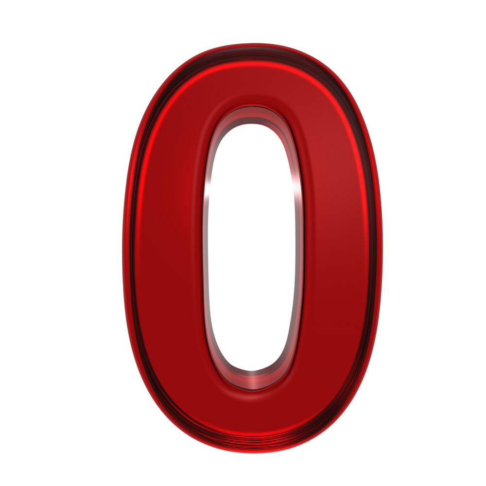 One Digit From Ruby Alphabet Set, Isolated On White.