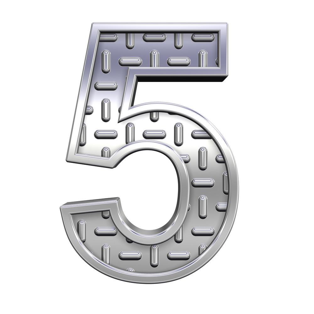 One Digit From Steel Tread Plate Alphabet Set