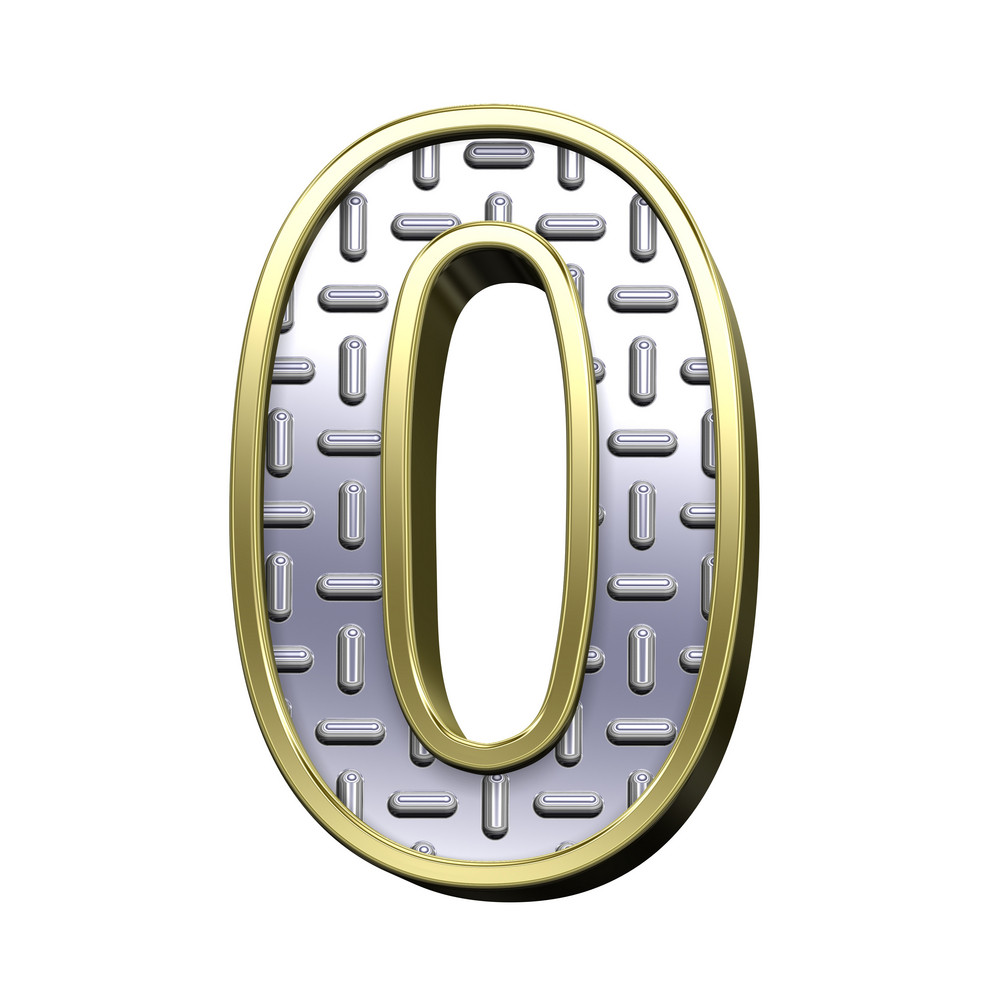 One Digit From Steel Tread Plate With Gold Frame Alphabet