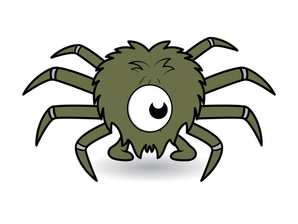 One Eye Funny Spider Cartoon Vector