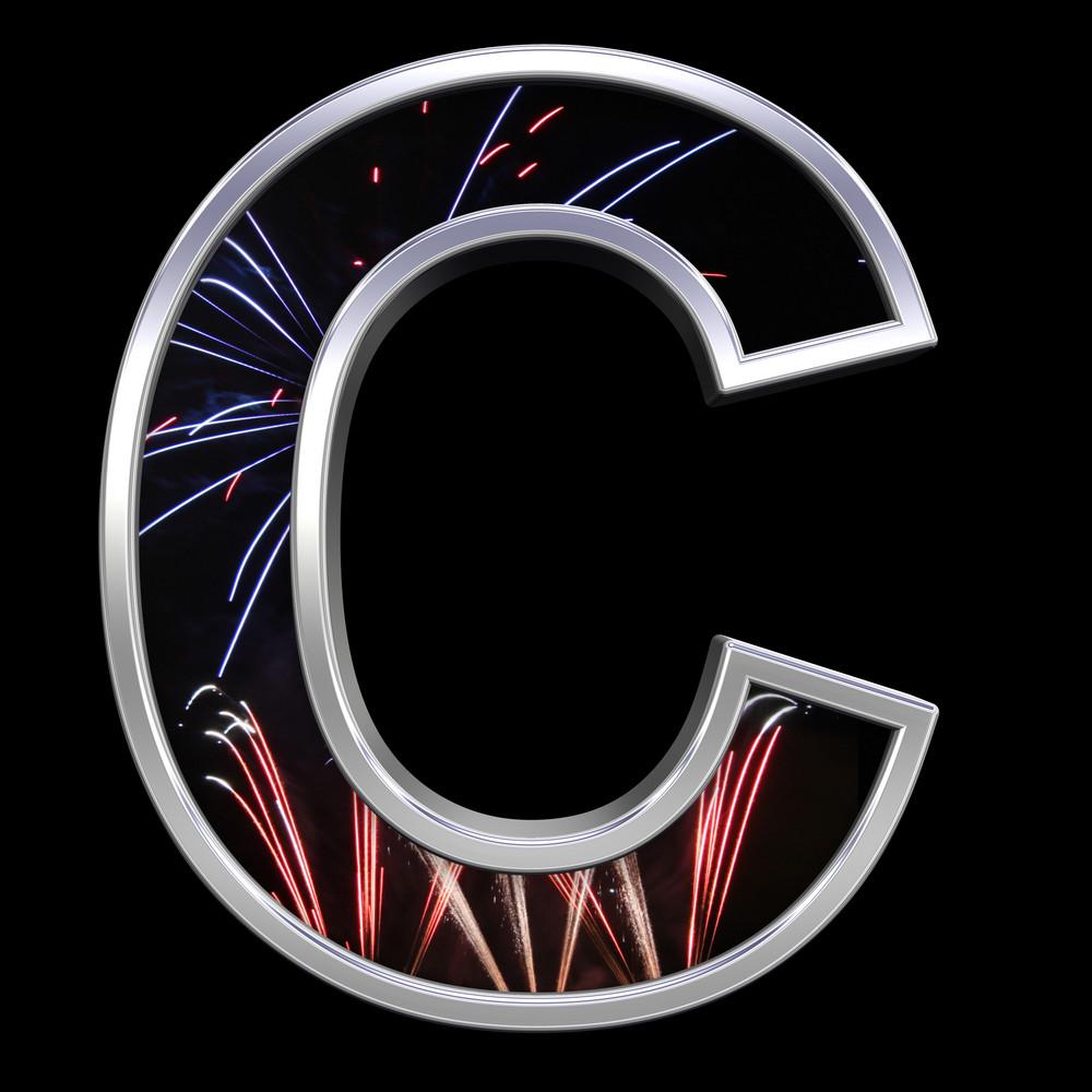 One Letter From Firework With Chrome Frame Alphabet Set