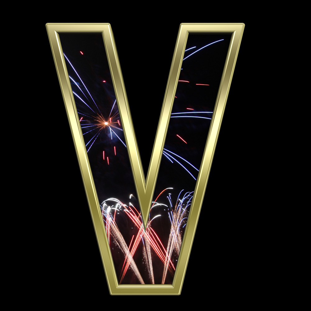 One Letter From Firework With Gold Frame Alphabet Set