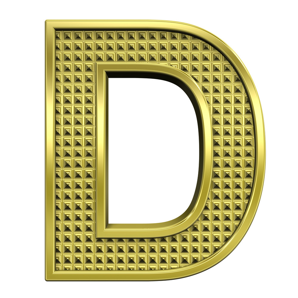 One Letter From Knurled Gold Alphabet Set