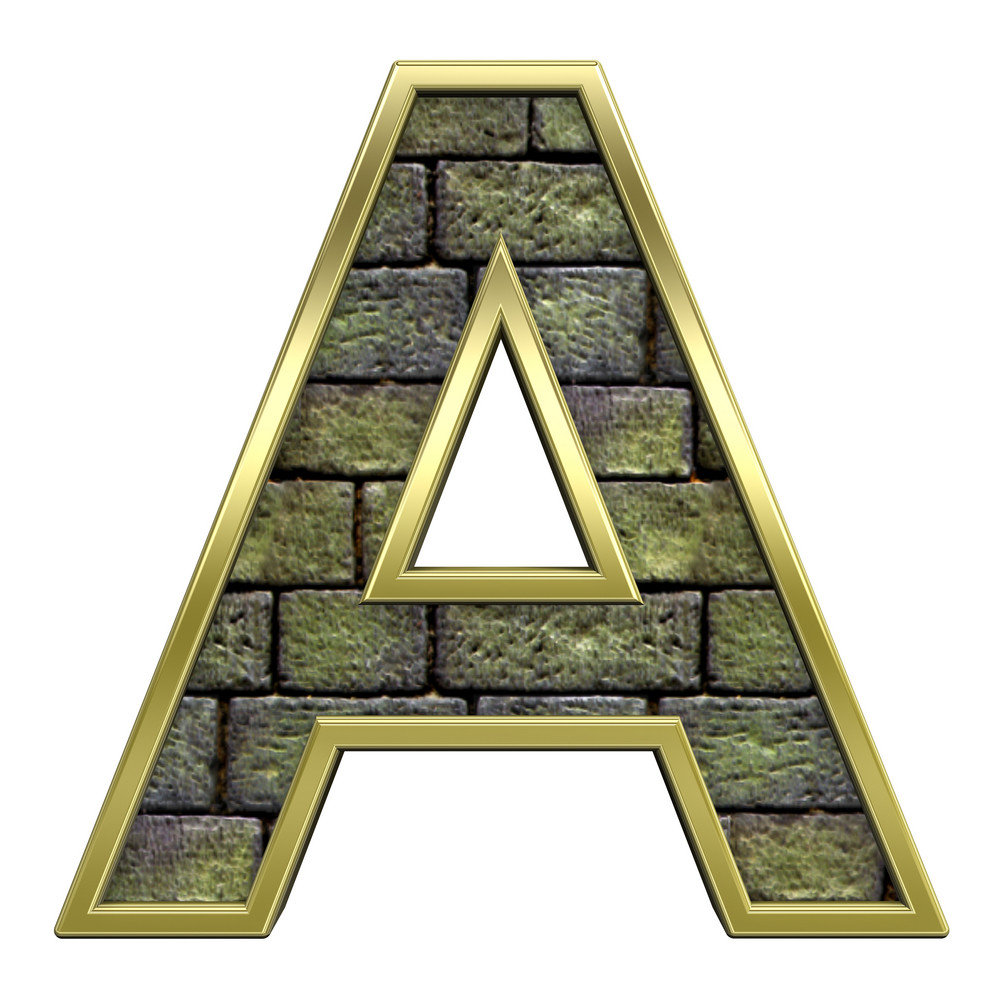 One Letter From Old Stone With Gold Frame Alphabet Set