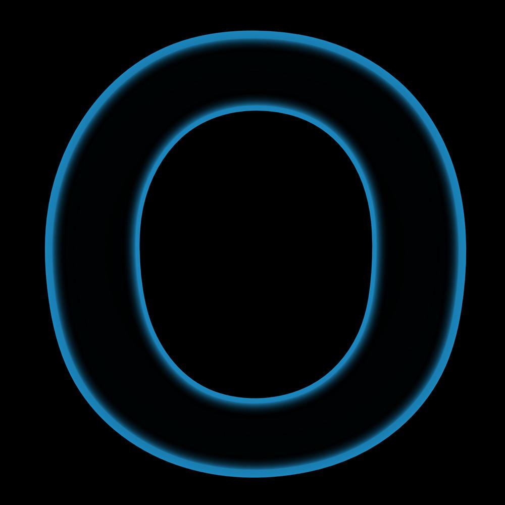 One Letter From Plasma Alphabet Set, On The Black Background.