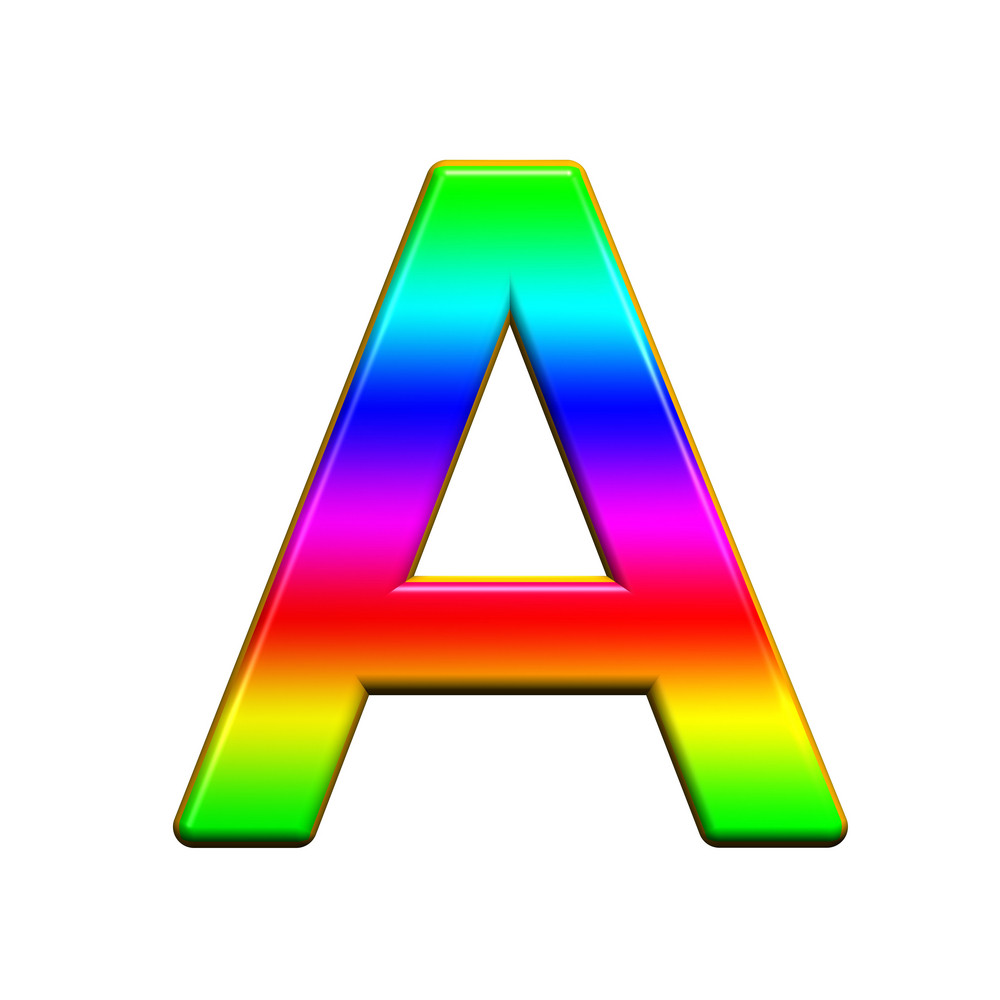One Letter From Rainbow Alphabet Set, Isolated On White