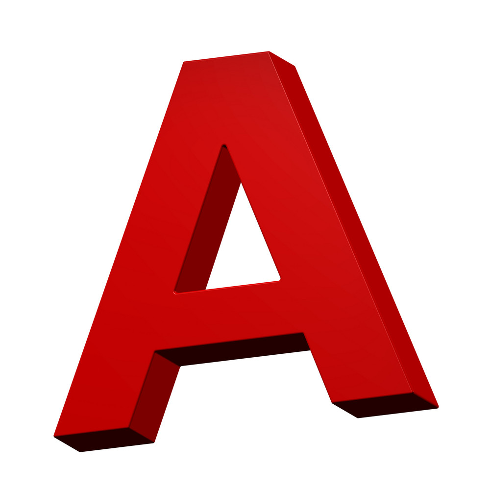 One Letter From Red Alphabet Set, Isolated On White