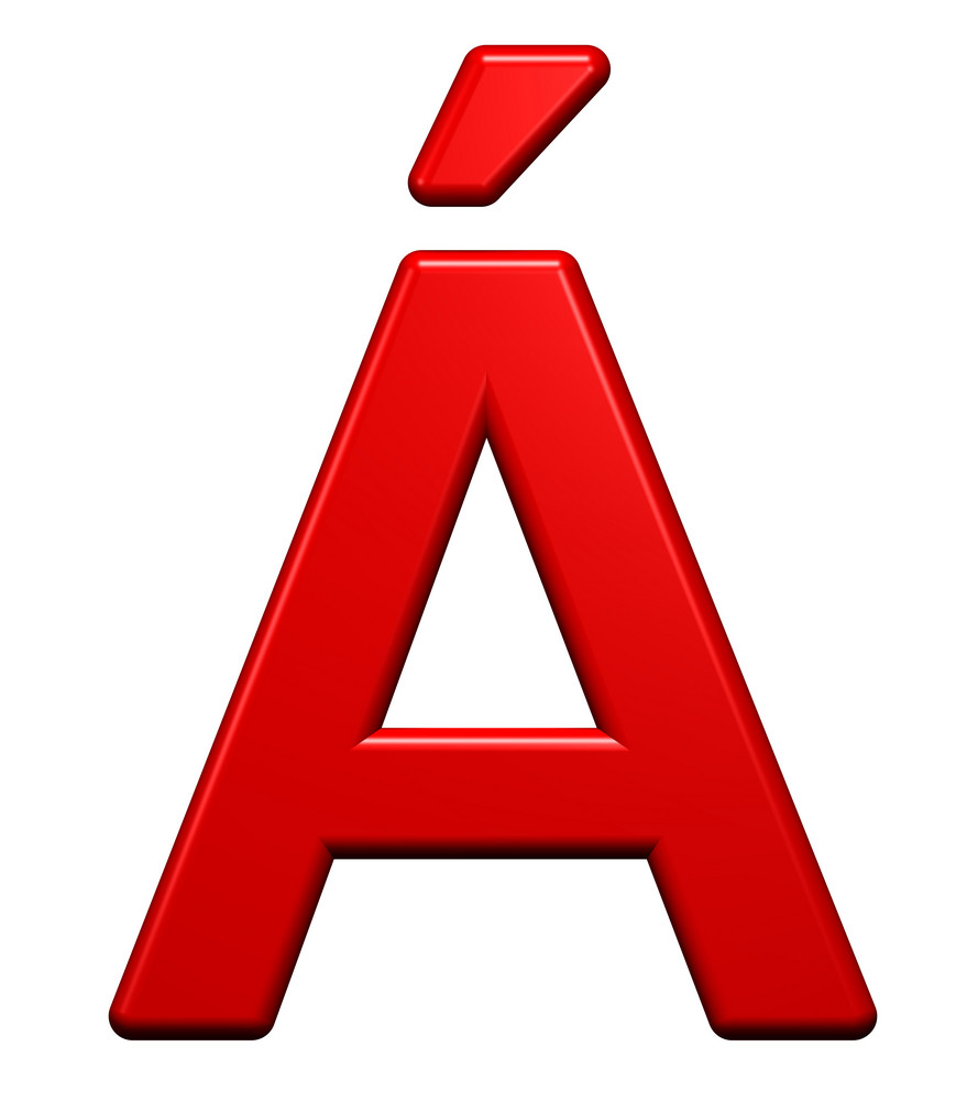 One Letter From Red Plastic Alphabet Set, Isolated On White.