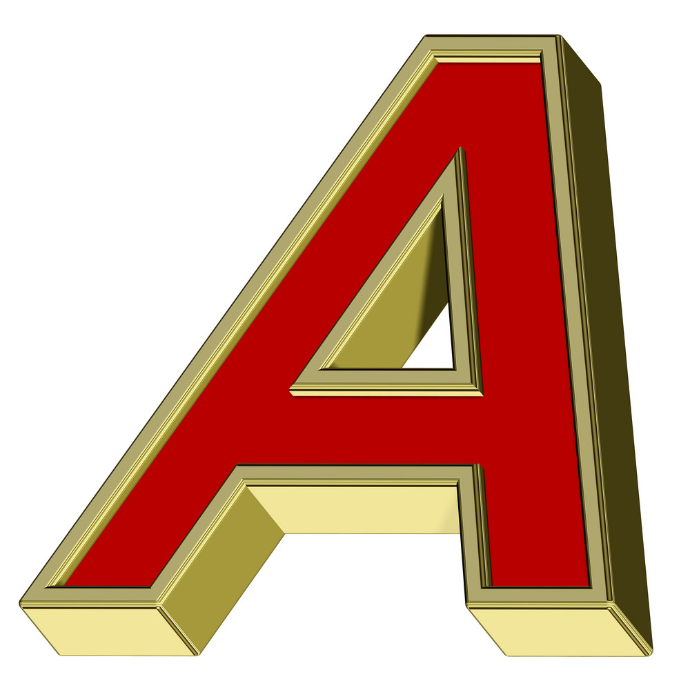 One Letter From Red With Gold Frame Alphabet Set, Isolated On White.