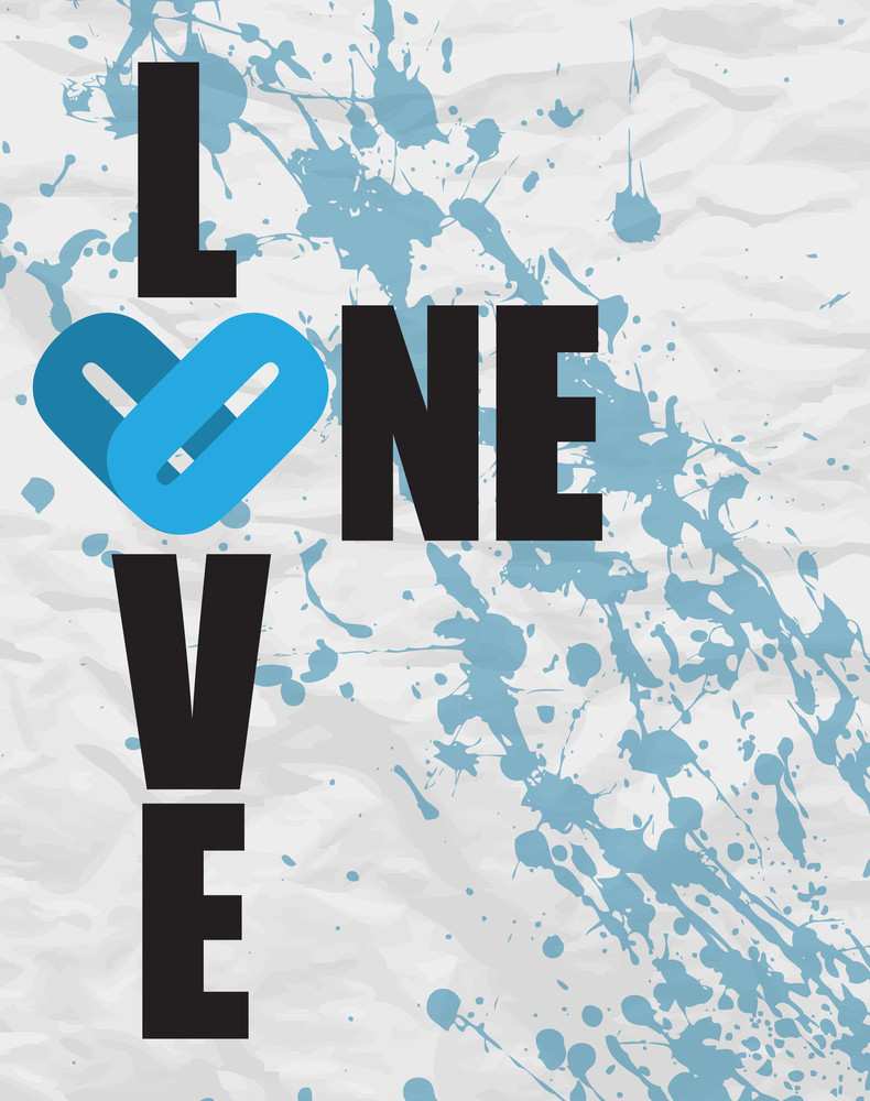 One Love Grunge Text On A Paper-background. Vector