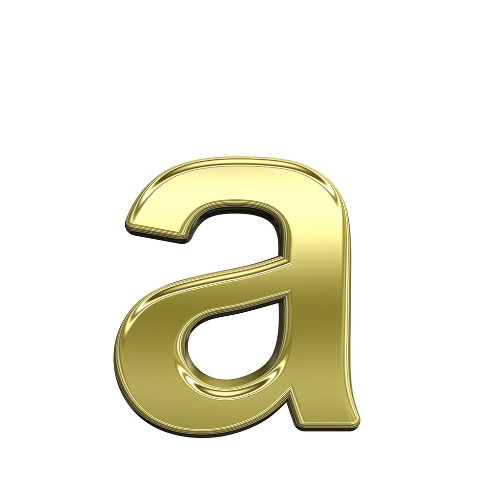 One Lower Case Letter From Shiny Gold Alphabet Set