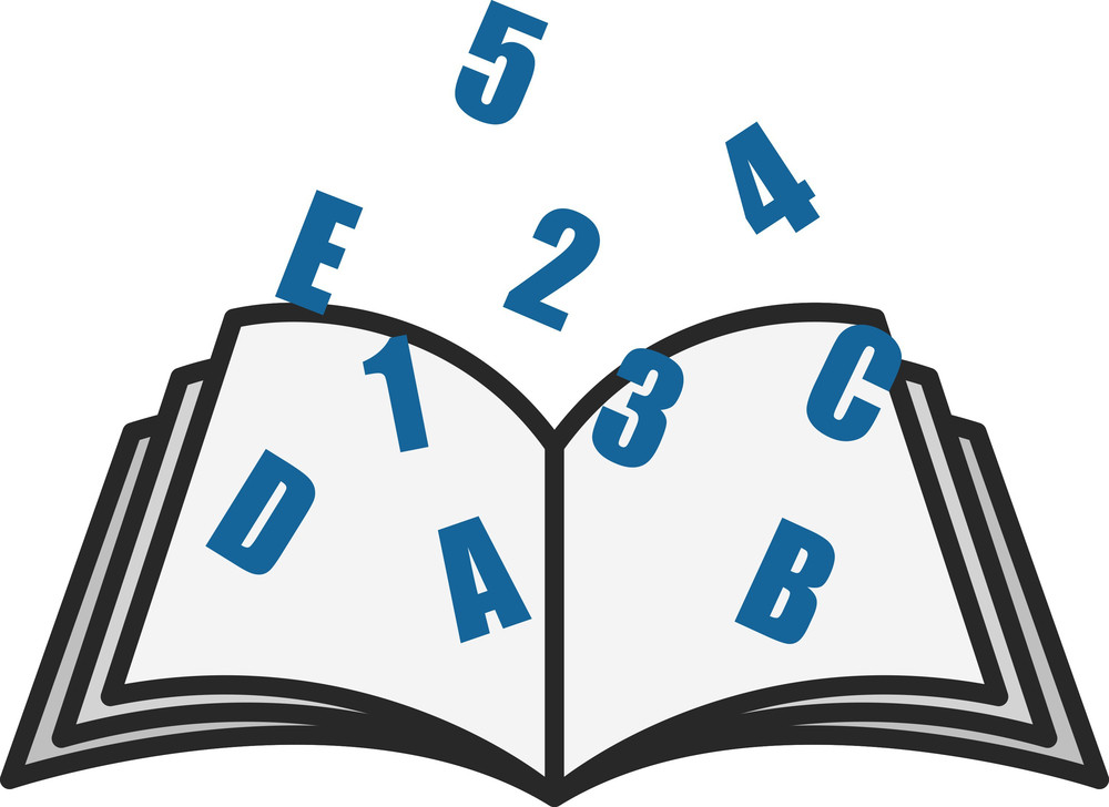 Open Book With Alphabets And Numbers - Office Vectors