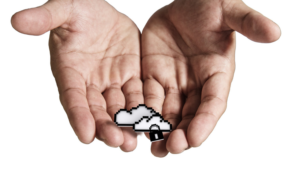 Open Hand Holds Pixel Cloud Network Sign