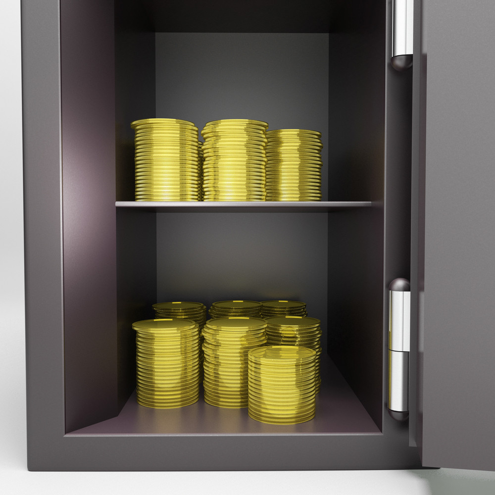 Open Safe With Coins Showing Banking Security