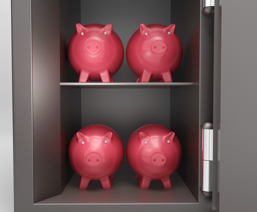 Open Safe With Piggy Shows Bank Safety