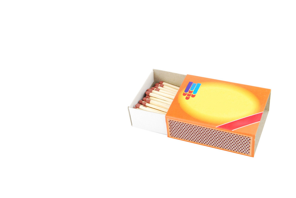 Opened Box Of Matches On White