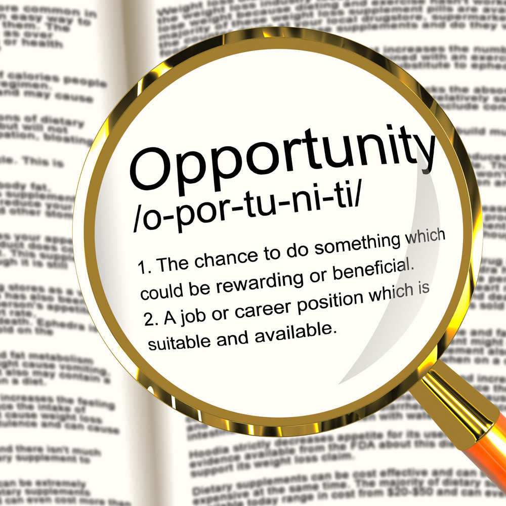 Opportunity Definition Magnifier Showing Chance Possibility Or Career Position