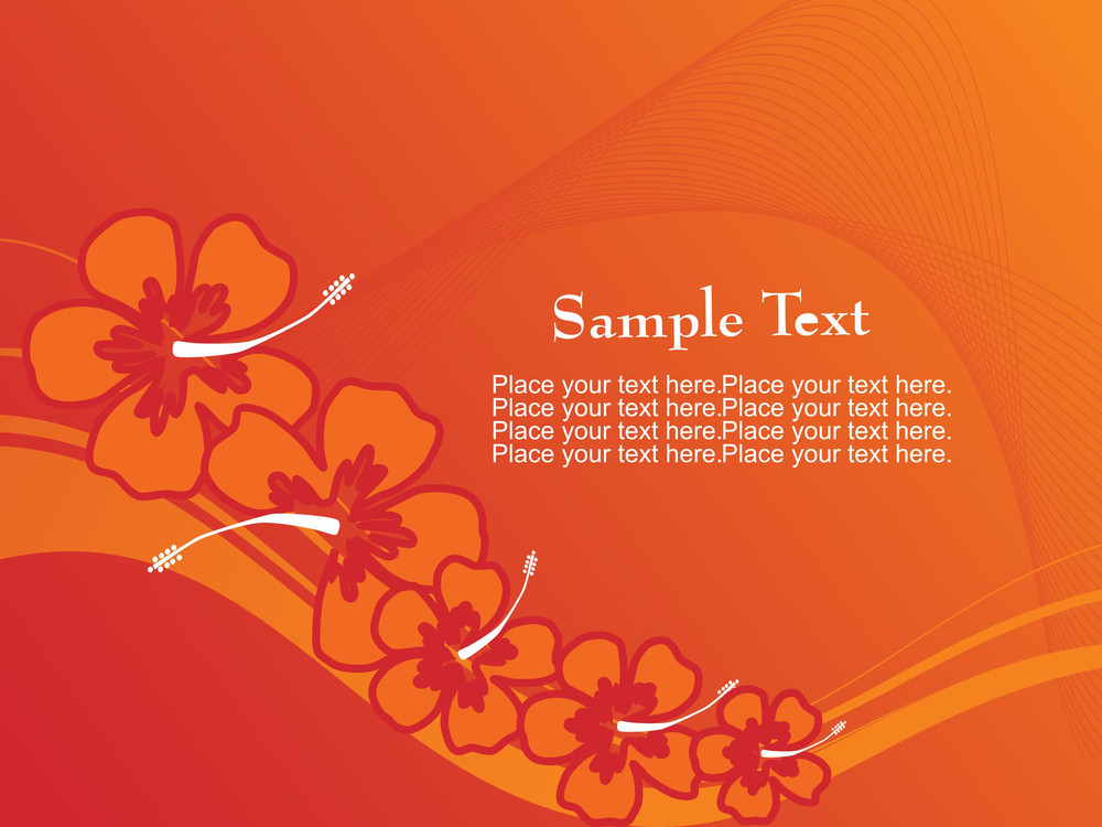 Orange Background With Flower